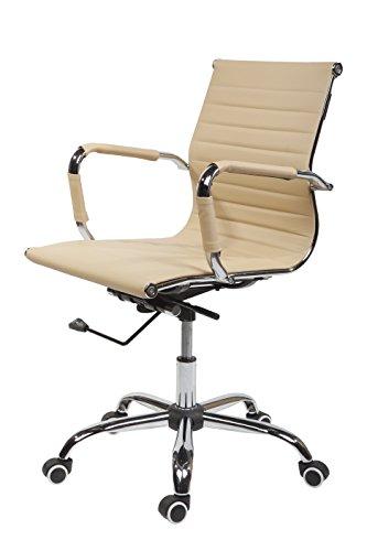 SVITA Design Bürostuhl Chrom Rahmen Elegance Chefsessel Drehstuhl Konferenz-Stuhl (Beige, Niedrige Lehne)