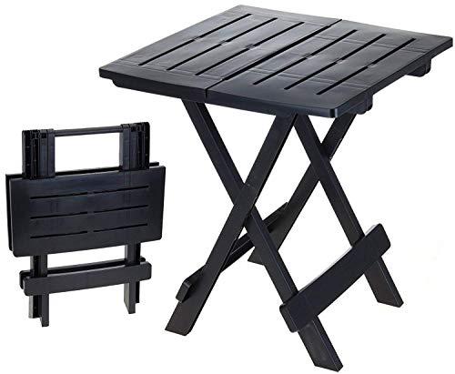 DRULINE klappbarer Campingtisch Beistelltisch aus Kunststoff (Schwarz) 43 cm x 45 cm x 50 cm