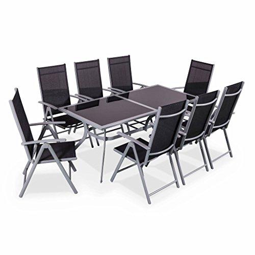 Alice's Garden Salon de jardin en aluminium et textilène - Naevia - Gris, noir - 8 places - 1 grande table rectangulaire, 8 fauteuils pliables