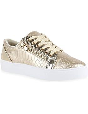 Damen Sneakers Metallic Sneaker Low Zipper Glitzer Schuhe Lack Animal Print Turnschuhe Sportschuhe Leder-Optik...