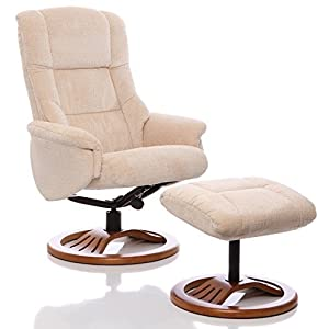 "Oriental Leather Co Ltd (Großbritannien) Chenille Textil Relaxsessel, Liegesessel ""The Mandalay"" mit Hocker, Beige"