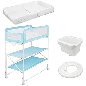 Changing Table Baby Changing Table Massage Table Newborn Baby Touch Table Foldable Portable Baby Diaper Table with Fence and Brake Wheels (Color : Blue)   1