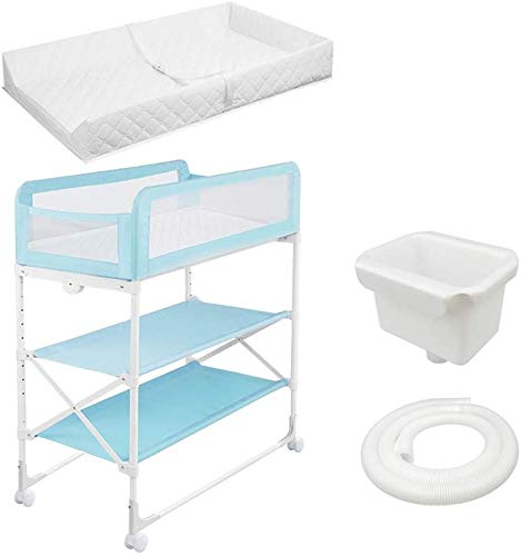 Changing Table Foldable Baby Diaper Changing Table,Movable Baby Changing Station with Safety Strap and Fence Baby Bath Table Dresser Unit Organizer (Color : Blue, Size : B) Changing Table ●Foldable changing table- Easily fold it if you finish all the tasks,With its space saving design, you can store it behind a door, it will make life a little easier for parents. ●Size and Safe and Stable- 80x 50 x 107cm,Suitable for babies weighing less than 25kg,With seat belt,Changing pad has a restraining strap for added safety and is made of easy to clean, soft ●2-in-1 design: Baby changing table can be used as baby massaging table as well. It is designed at the proper height of parent to prevent mom's back aches and pains from kneeling or bending when changing diapers to babies. 1