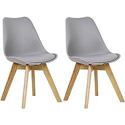 WOLTU 2 Chaises de Salle à Manger Cuisine/Salon chaises,Design en Similicuir et Bois Massif,Gris BH29gr-2