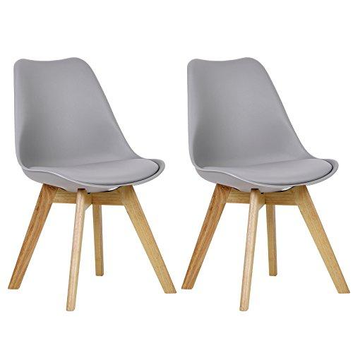 Holz Esszimmer-set (WOLTU BH29gr-2 2 x Esszimmerstühle 2er Set Esszimmerstuhl Design Stuhl Küchenstuhl Holz, Neu Design,Grau)
