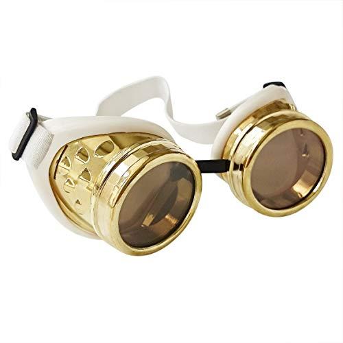 ASVP Shop Schweißbrille im rustikalen Steampunk Stil passend mit Ösen und Gummiband für perfekte Passform und Komfort Ideal für Cosplay und Kostüme Gr. Einheitsgröße, gold