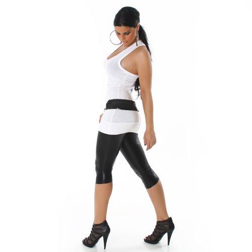 Jela London Damen Sexy Longtop Tanktop Top Shirt Einheitsgröße Weiß