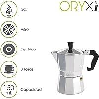 ORYX Cafetière 3Tasses, Aluminium, Argent, 12x 17x 10cm