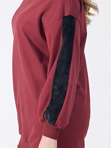 Momo&Ayat Fashions -  Felpa  - Donna Fur panel sleeve- Wine
