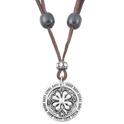 Damen Kleeblatt Halskette Rund Scheibe Münze Anhänger Glücksbringer Kette Lederhalskette Braun Altsilber Farbe