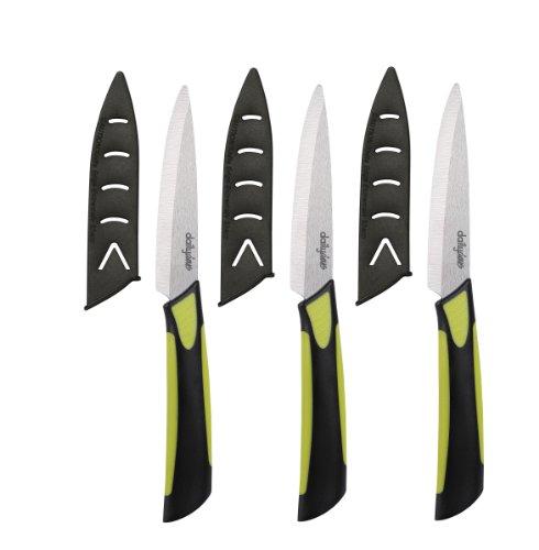 Dailycious DC-0042 Lot de 3 Couteaux à Steak Céramique Vert/Noir