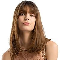 Rawdah Pelucas Mujer Pelo Natural Largo Corto Postizos Mujer Rubio Pelucas sintéticas largas del pelo del