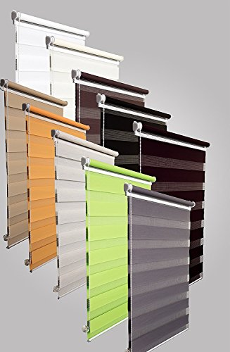 Doppelrollo Duorollo verschiedene Farben und Größen ohne Bohren Klemmrollo Seitenzugrollo Grün 110×150 cm - 8