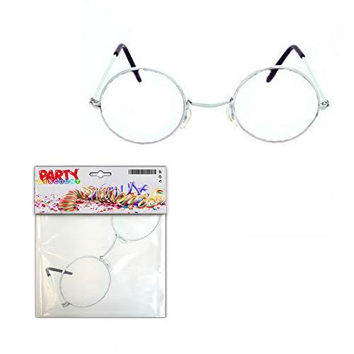 PARTY DISCOUNT ® Brille Oma - Opa, rund ohne Gläser, Metall - Alter Rentner Kostüm