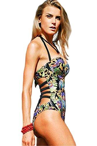 Mujers Vistoso Volver de tiras Cuello halter Impresión Monokini (L, As shown)