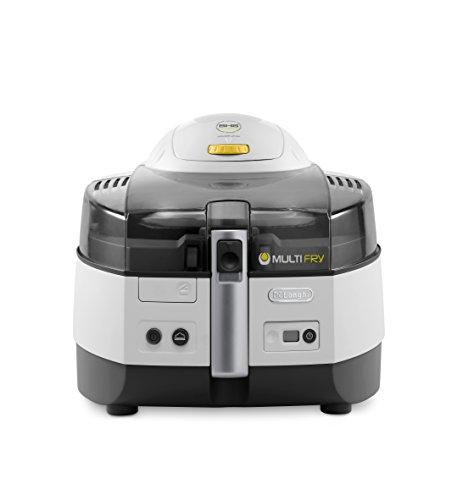 De\'Longhi MultiFry Extra FH 1363 Heißluftfritteuse/Multicooker (1,7 kg Fassungsvermögen, 1.400W / 200W, 8 Portionen, SHS-Double, Rezepte-App) grau/weiß