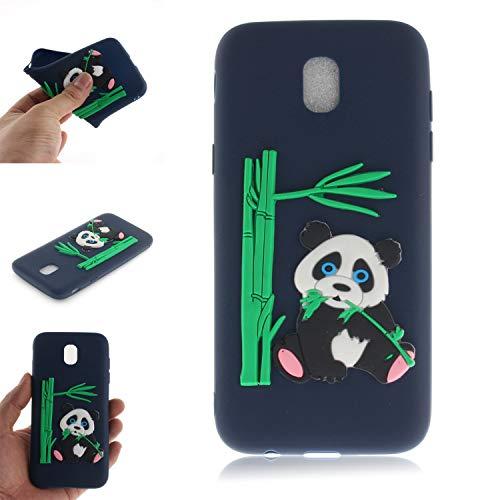 BONROY Samsung Galaxy J5 2017/J530 Hülle - Handyhülle für Samsung Galaxy J5 2017/J530 Handy Case - (TX-Panda isst Bambus dunkelblau)