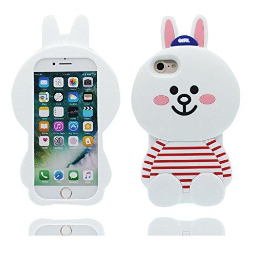 """iPhone 7 Handyhülle, iPhone 7 Hülle Cover 4.7"""", [3D Einhorn unicorn Cute] Gel-Shell TPU flexibles Shell iPhone 7 case 4.7"""" Staub Kratzer beständig Weiß"""