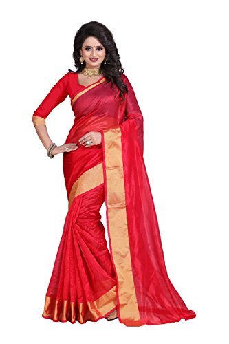 Reeva Trendz By Kupinda Women's Art Silk Saree Kanjivaram Style (Latest Designer Sarees /Party wear sarees /New collection sarees Color : red  available at amazon for Rs.350