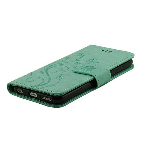 "iPhone 6 Plus 6S Plus Leder Hülle, Multifunktions Folio Flip Case Cover, Blume Gran Muster Serie, Brieftasche Unterstützen Feature, Telefon-Kasten Schutzhülle für iPhone 6 Plus & iPhone 6S Plus 5.5"" Cyan"