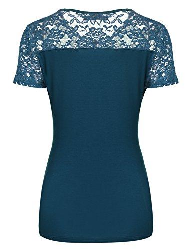 Zeagoo Damen Kurzarm T-Shirt aus Floral Spitze Basic Shirt Spiztenshirt Tunika Baumwolle Tops Hemd Grün