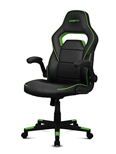 Drift DR75 - Silla de gaming de piel sintética , 66 x 53 x 115-123 cm, Negro y verde