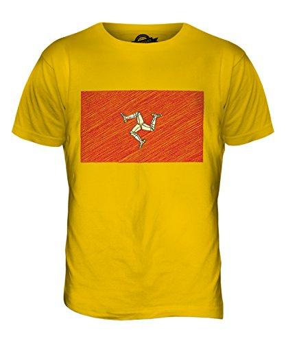 CandyMix Isle Of Man Kritzelte Flagge Herren T Shirt Dunkelgelb
