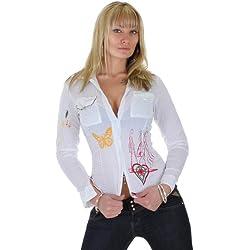 Bluse Damen mit Stickmuster und Taschen im Knitterstyle