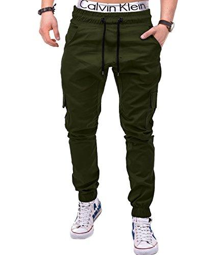 Betterstylz MasonBZ Cargo Chino Jogger Pantaloni Uomo Style Jogger Militare Pant Army diff. colori (S-XXXL) (Small, Oliva Verde)