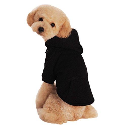 YiJee Kleine Hunde Winter Hoodie Pullover Haustier Pure Farbe Sweatshirts Schwarz M -