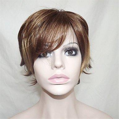 OOFAY JF ® europe et aux États-Unis vendent beaucoup de brun doré polyester teint d'âge moyen et vieux devenir déformé perruque 10 pouces , 14 inch