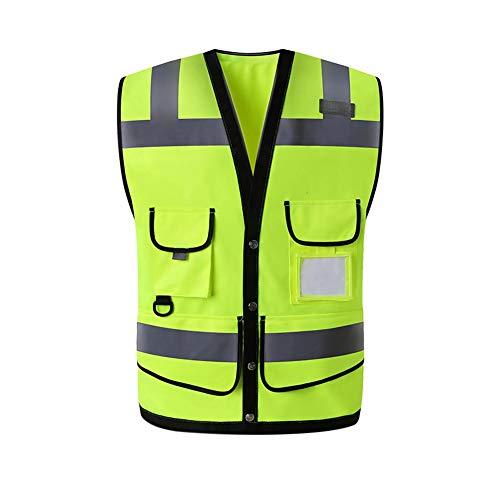 Reflektierende Warnwesten mit Taschen Grüner Frontreißverschluss Sicherheitsausrüstung Weste Passend für Männer und Frauen (L, XL)