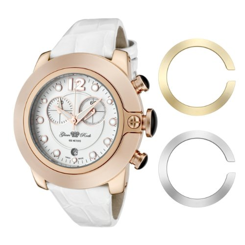 Glam Rock Unisex Quartz Watch With White Dial Analogue Display And Leather Strap 0.96.2239