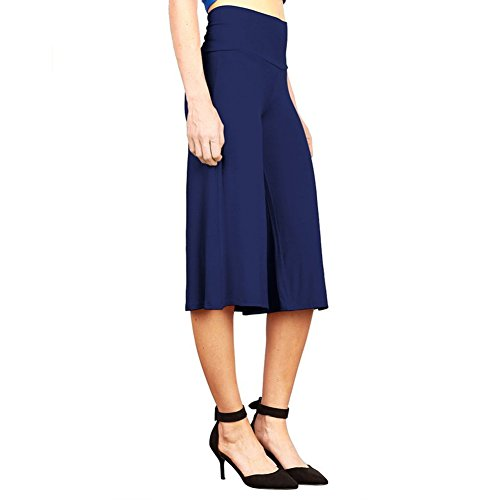 iShine Palazzo Hosen Damen Hosenrock elegant Wide Leg Pants Lagenlook Hosen 3/4 Lagen Hose mit leichte elastische-Dunkelblau-XL
