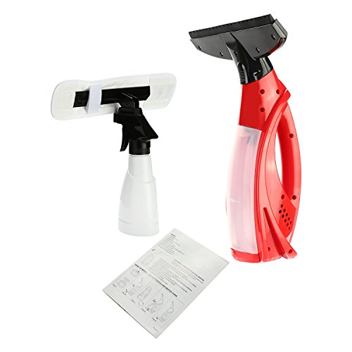 LESOLEIL Fenstersauger mit Einstellbar Stiel und Einwascher für Fenster Spiegel Autoscheiben Duschabtrennungen Küchenarbeitsflächen Rot
