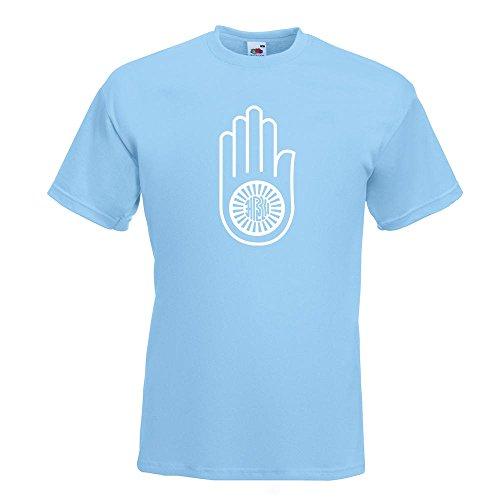 KIWISTAR - Jain Hand Ahimsa T-Shirt in 15 verschiedenen Farben - Herren Funshirt bedruckt Design Sprüche Spruch Motive Oberteil Baumwolle Print Größe S M L XL XXL Himmelblau