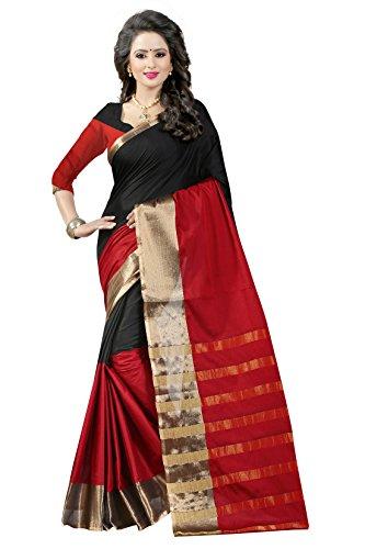 Shree Sanskruti Women's Poly Cotton Saree With Blouse Piece (Aura 16 Red...
