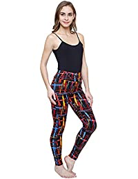 Vritraz Women's Polyester Printed Streachable Sports Yoga Track Pant Gym Ankle Length Leggings (L_MultiLine-1, Multicolour, Free Size)