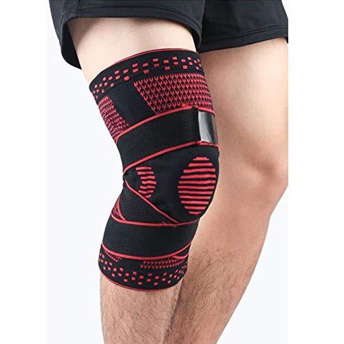Gifftiy Kniepolster Knee Brace Compression Sleeve Non-Slip Running Hiking Soccer Basketball Meniscus Tear Arthritis Single Wrap Kneepads Knee Pads-1Pcs_B_Red_L