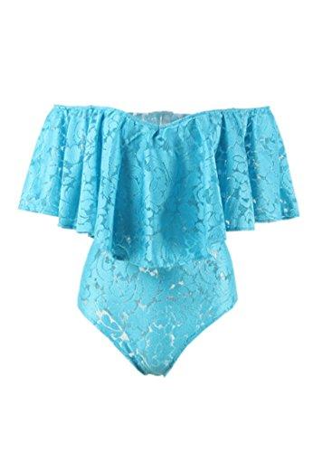 Boutiquefeel Damen Schulterfrei Lace Bodysuit Rüschen Ruffle Overlay Rompers Jumpsuits Blau