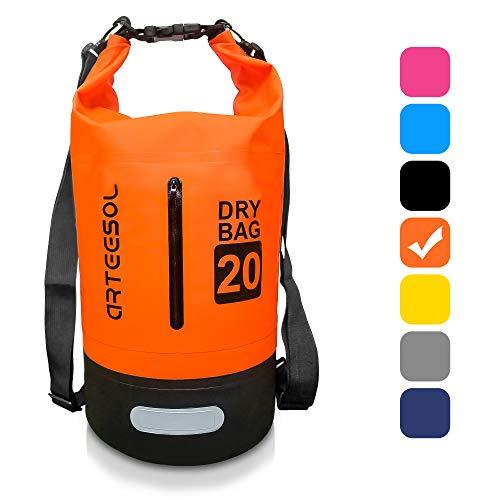 BKSTONE Borsa Impermeabile, 100% Impermeabile Dry Bag con Tracolla Regolabile, per attività all'Aperto e Sport d'Acqua Nave, Trekking, Kayak, Canoa,Pesca,Rafting,Nuoto,Sci -10L / 20L (Arancione, 5L)