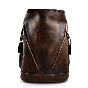 Leder rucksack dunkel braun gewaschen leder rucksack damen herren reisetasche kalbsleder rucksack vintage leder rucsack sporttasche