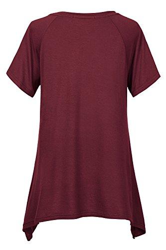 Urban GoCo Damen Kurz Ärmel Basic Lose T-Shirt Weinrot