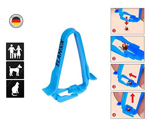 elanox pet Zeckenzange mit Anhebefunktion für Hunde Katzen und Menschen Zeckenentferner Zeckenpinzette