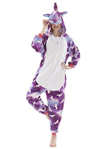 Mescara Einhorn Kostüm Pyjama Jumpsuit Cosplay Schalfanzug Festliche Anzug Flanell Tierkostüm Kartonkostüm Tierschalfanzug (L/EU38, Violett-weiß)