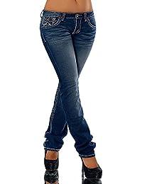 H922 Damen Bootcut Jeans Hose Damenjeans Hüftjeans Gerades Bein Dicke Naht Nähte