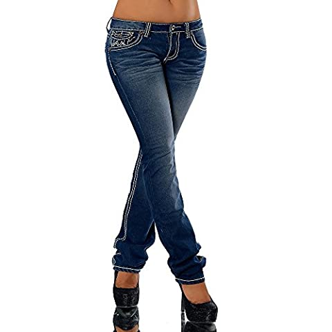 H922 Damen Bootcut Jeans Hose Damenjeans Hüftjeans Gerades Bein Dicke Naht Nähte, Farben:Dunkelblau;Größen:36