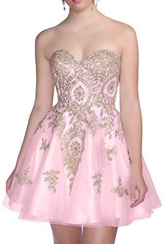 La_mia Braut Rosa Langes Traegerlos Abendkleider Promkleider Abiballkleider Bodenlang A-linie Rock Pinrzess Neu Rosa-kurz