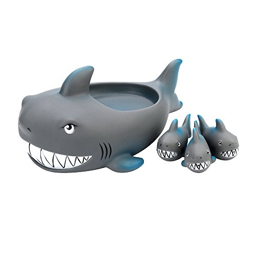 ForgetMe Toy Shrilling Rubber Cute Shark Family Bathtub Pals Floating Bath Tub Toy For Kids Rubber Creatures Animals Water Toy Favors Baby Toy