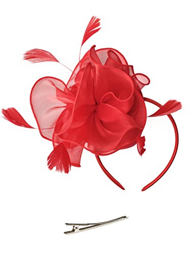 Fascinators Hut Blume Mesh Bänder Federn auf einem Stirnband und einem geteilten Clip Cocktail Tea Party Headwear für Mädchen und Frauen